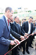 Ribbon-cutting ceremony (left to right): Rector of the University of Warsaw, M. Pałys, Governor of Alexandria, M. Sultan, Minister of Antiquities, Kh. el-Anany (Photo J. Ciesielska/PCMA)
